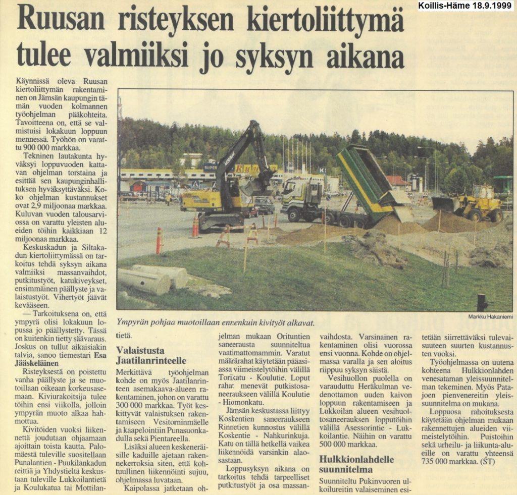 Ruusan risteyksen liittymän remontista kertova lehtijuttu vuodelta 1999