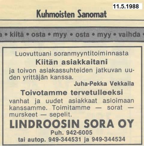 Kuhmoisten Sanomien ilmoitus vuodelta 1988